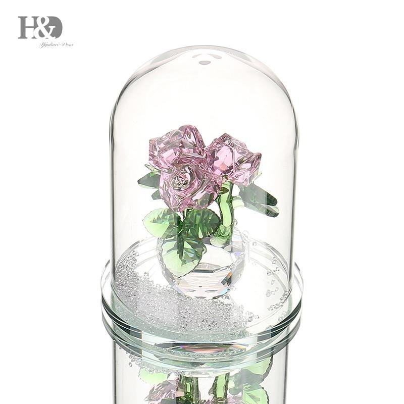 Crystal Enchanted Three Pink Roses