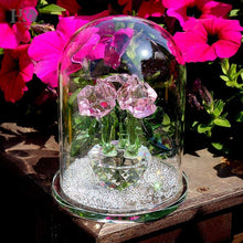 Load image into Gallery viewer, Crystal Enchanted Three Pink Roses