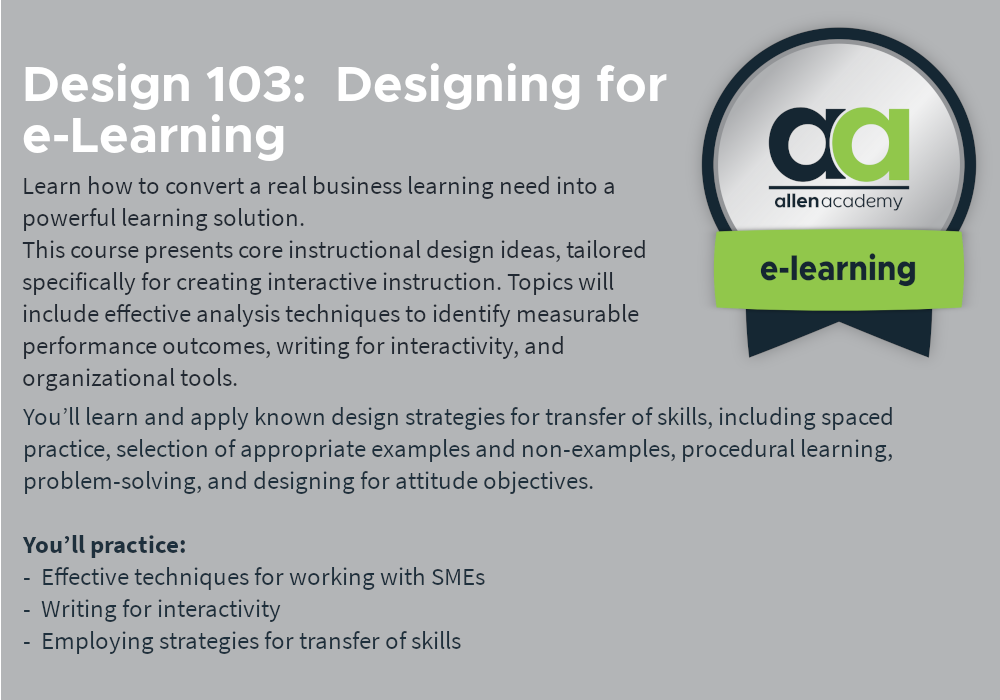 ACIP: e-Learning Instructional Design & Development Program - Allen Academy