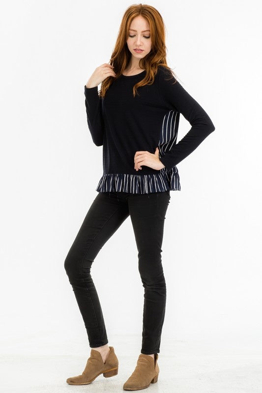 Navy Pinstripe Ruffled Top (FINAL SALE)