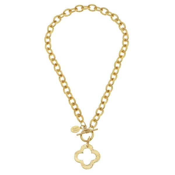 Gold Clover Front Toggle Necklace