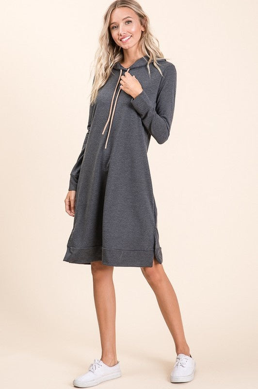 Charcoal West French Terry Hooded Dress