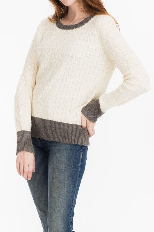Cream Cable Knit Sweater