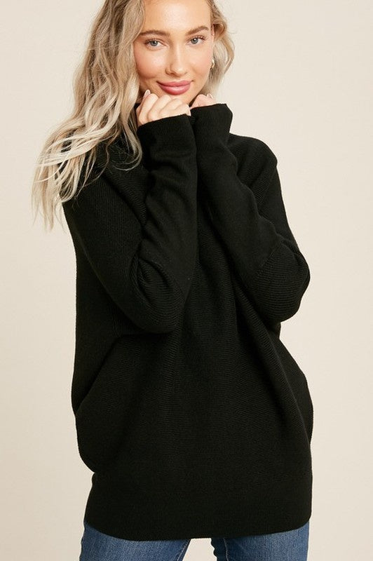 Black Slouch Neck Mia Sweater