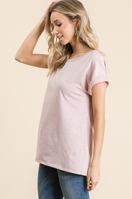 Pink Cuffed Short Sleeve Tee