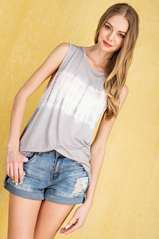 Sleeveless Light Grey Tie Dye Top