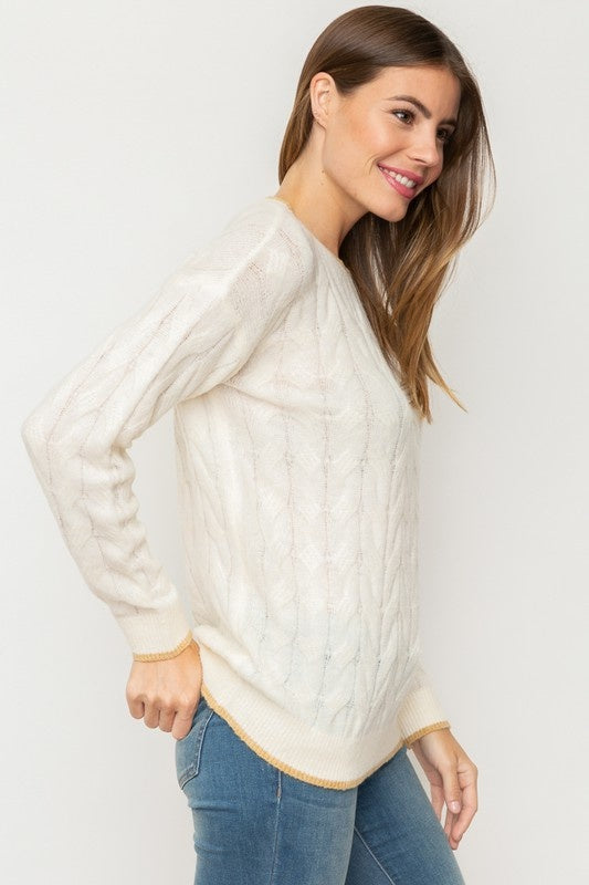 Cream & Taupe Cable Knit Sweater