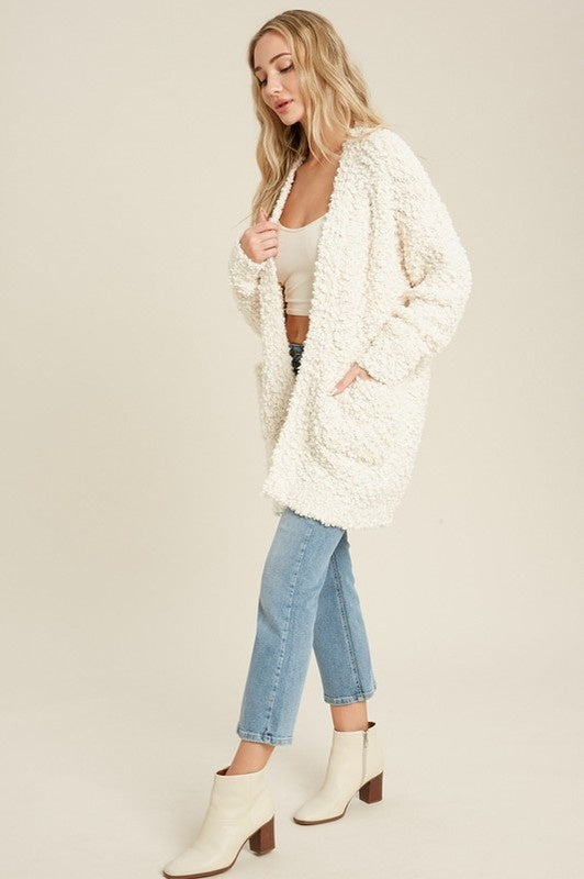 Fluffy Boucle Open Front Cardigan - Cream