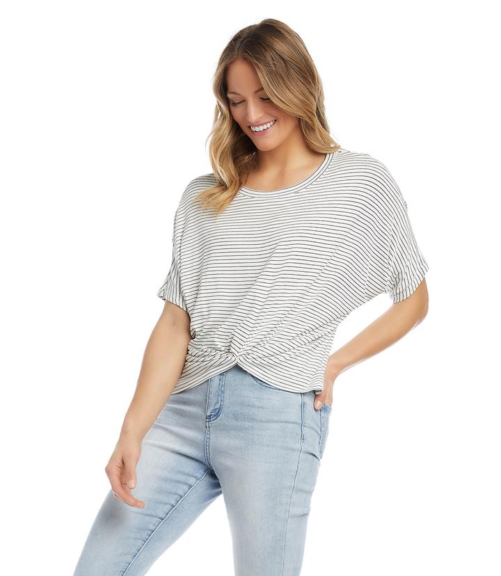 Karen Kane - Off White Stripe Twist-Front Top