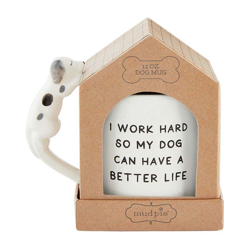 Work Hard Boxed Dog Mug