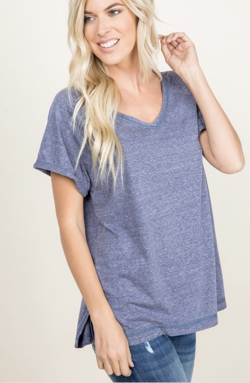 Denim Solid V-Neck Tee W/Side Slit