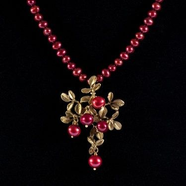 Cranberry Pendant on Pearls
