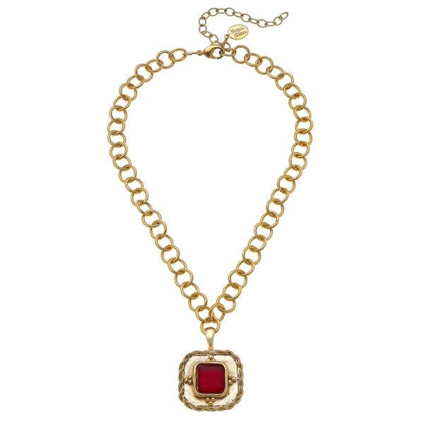 French Red Glass W/Handcasted Gold Chain
