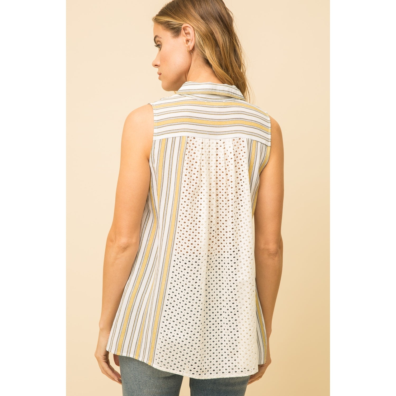 Sleeveless Stripe Tank - Lace Inset Back