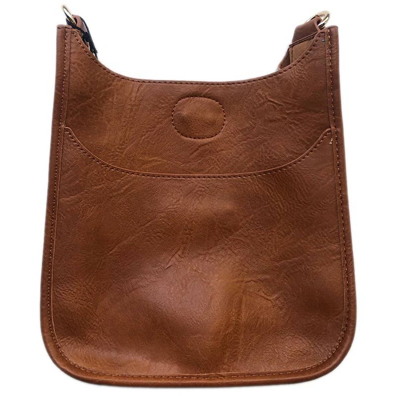 Vegan Leather Mini Messenger Bag Only No Strap - Camel w/Gold Hardware