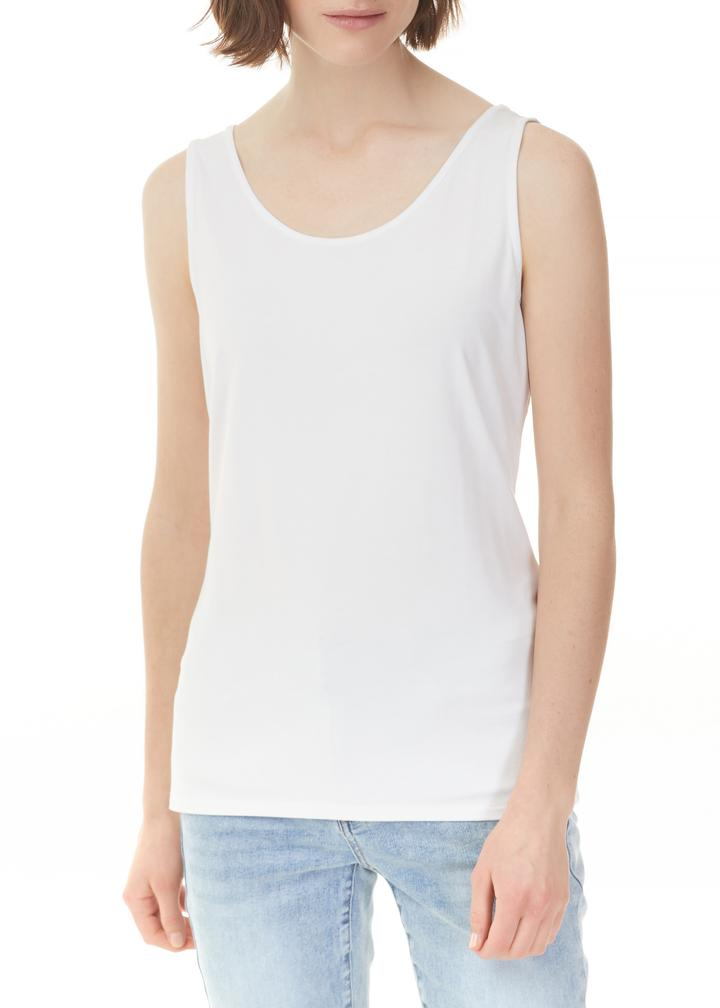 White Stretch Bamboo Tank Top