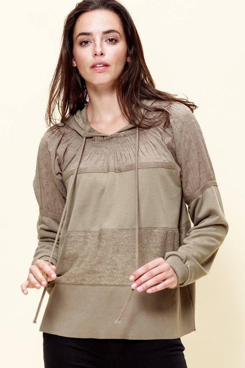 Soft Olive Embroidered French Terry Hooded Top