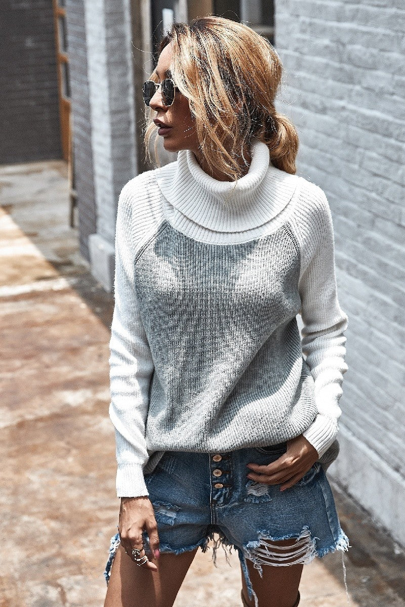 Grey & Off White Color Block Sweater FINAL SALE