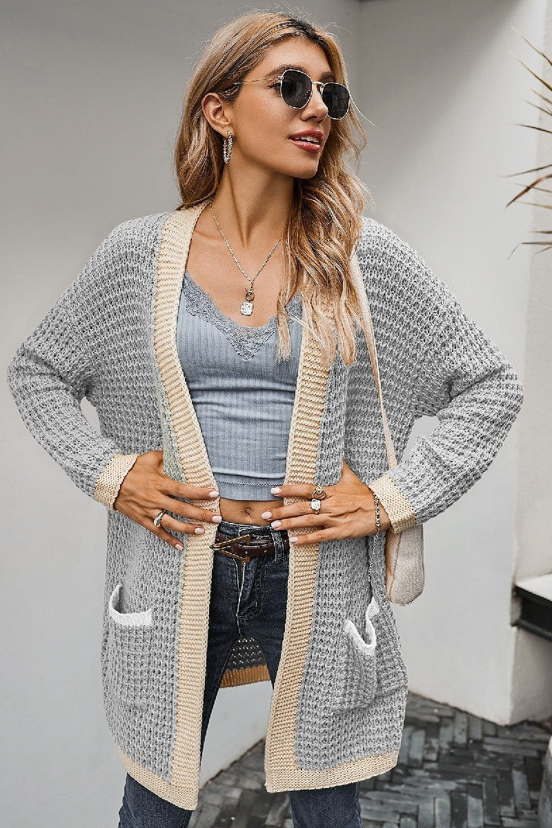 Light Blue - Color Block Knit Cardigan