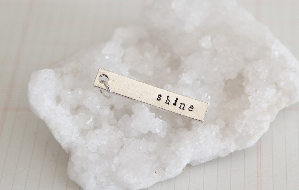 Hand Stamped Rectangle Shine Charm