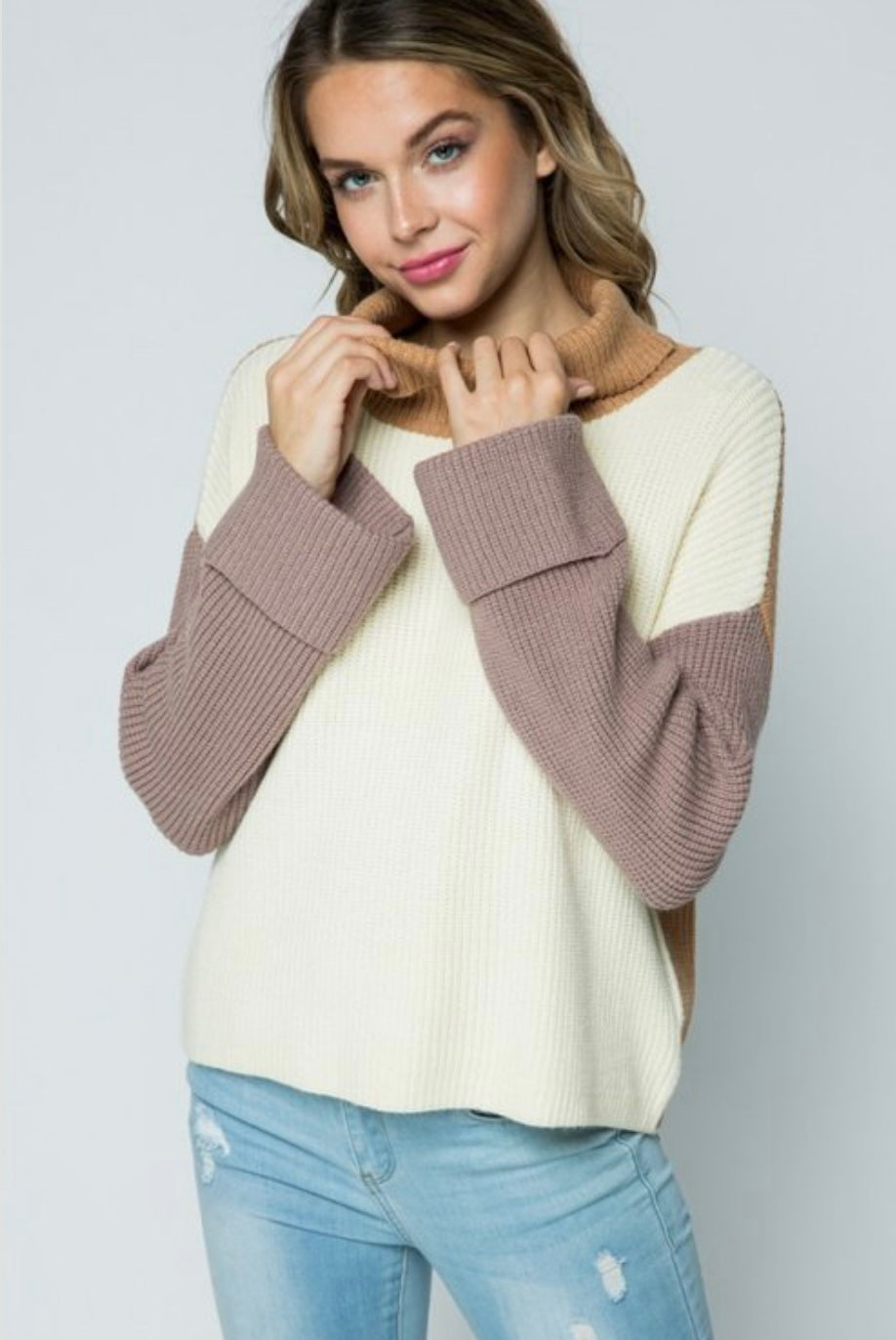 Oatmeal Knit Turtleneck