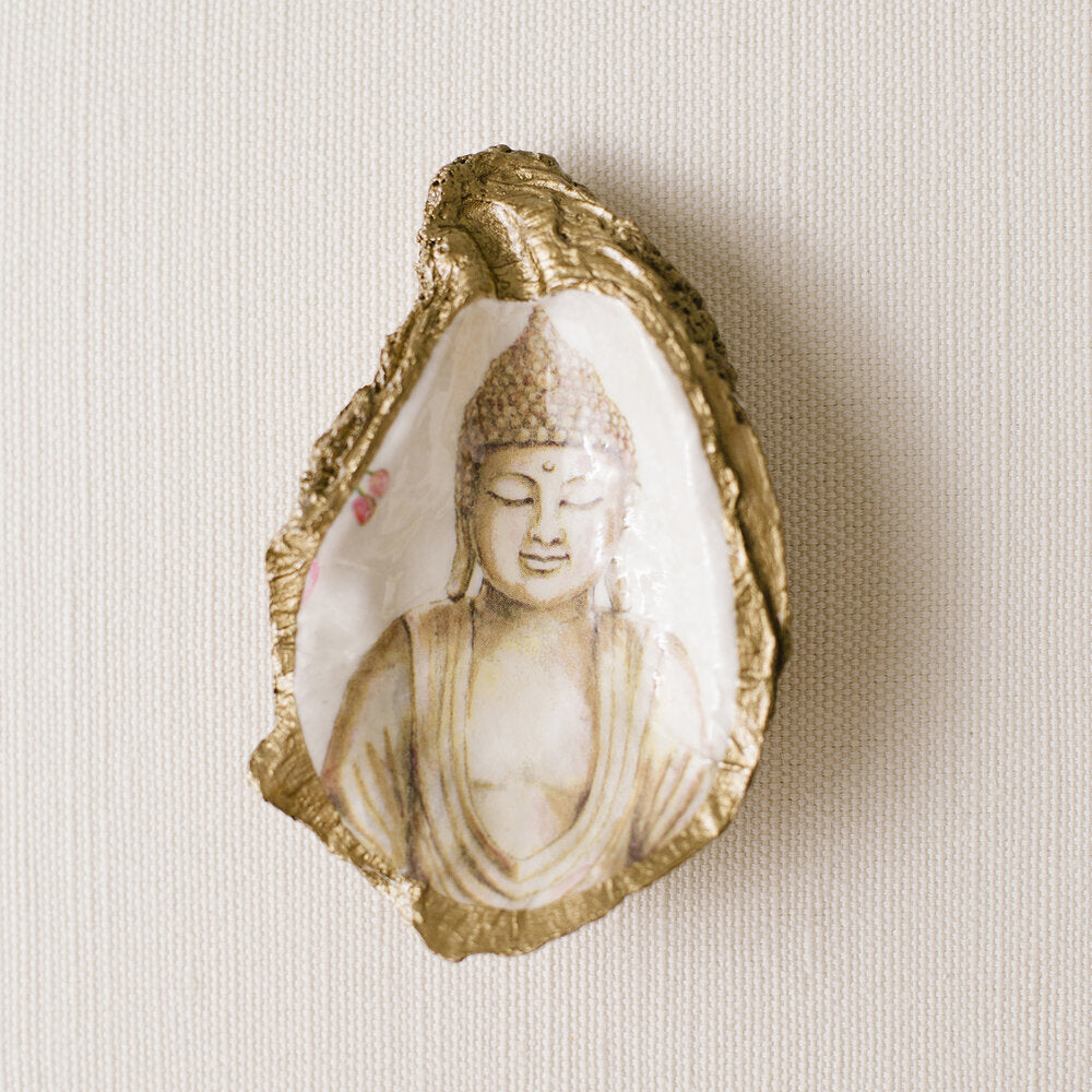 Serenity Buddha Decoupage Oyster Ring Dish