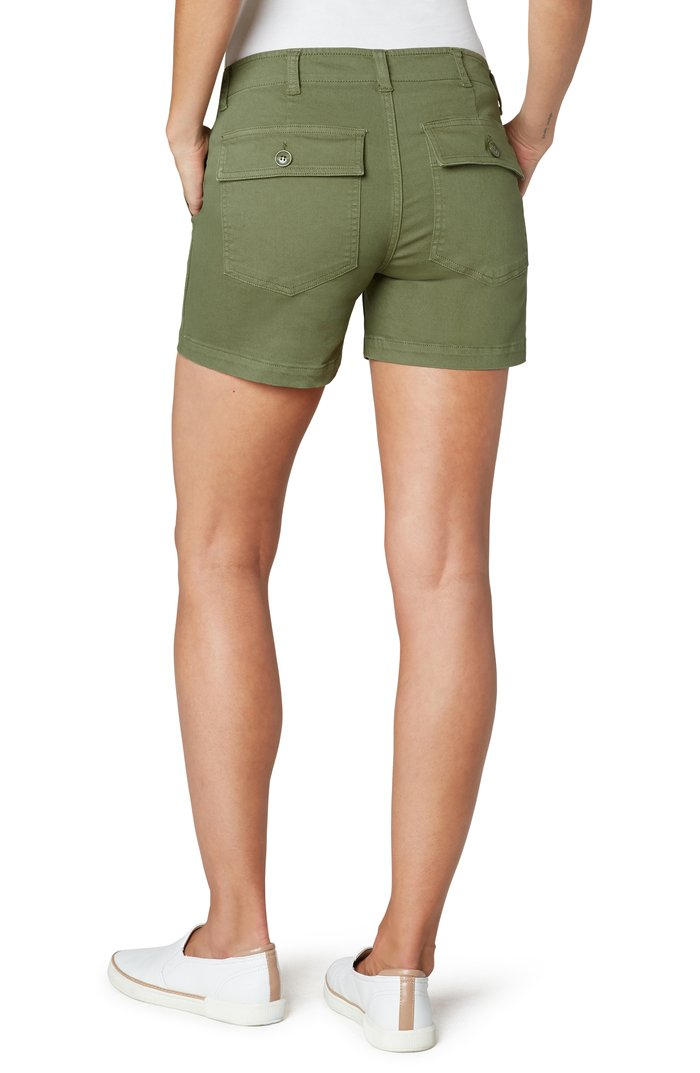 "Olive Moss 4.5"" Utility Short w/Flap Pockets"