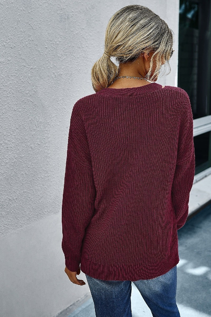 Wine Slouch V-Neck Top