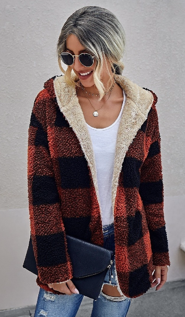 Reversible Red Plaid & Beige Fuzzy Cardigan