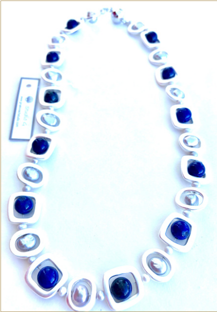 Freshwater Grey Pearl & Lapis Stone Necklace