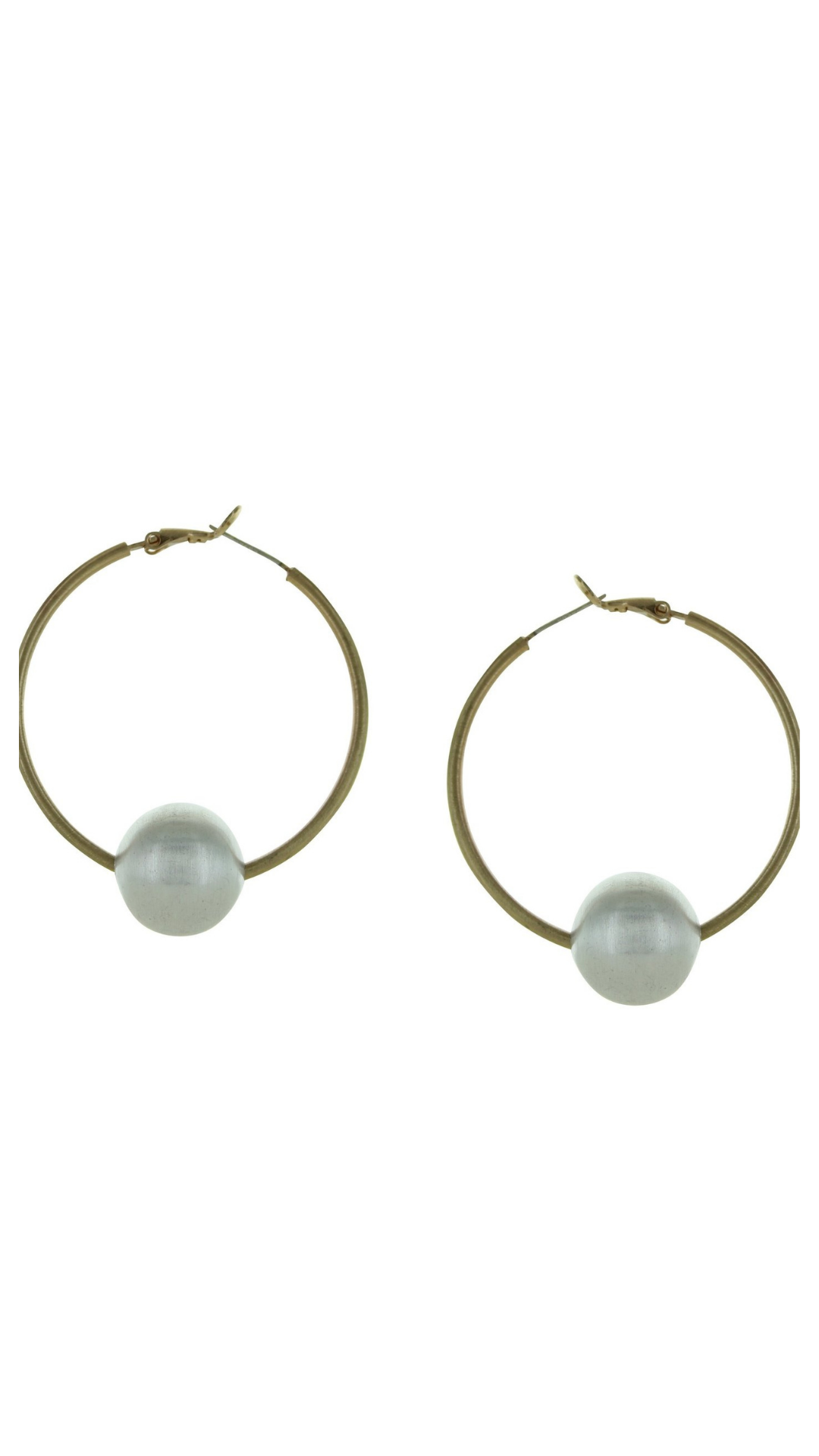 Gold Hoop w/Silver Ball