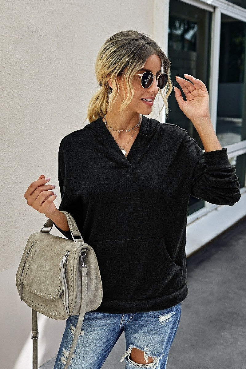 Black Hooded V-Neck Sweatshirt