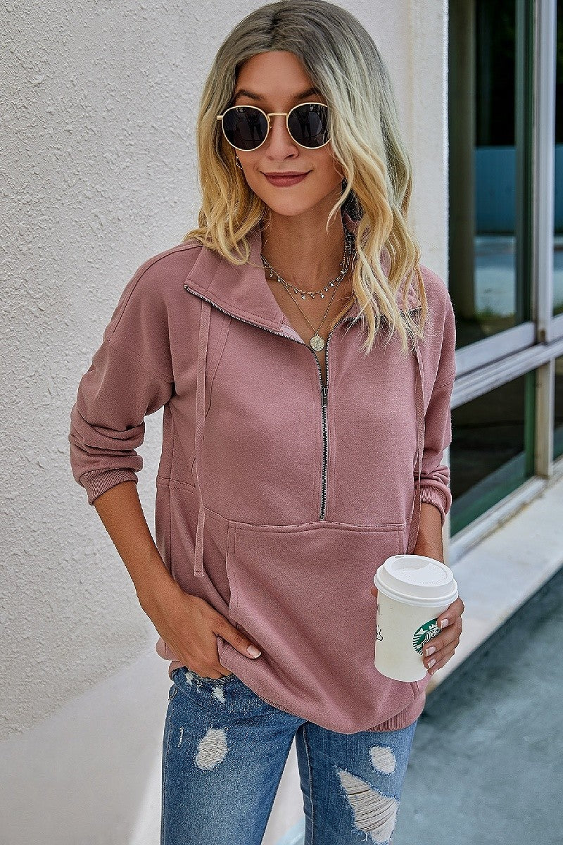 Front Pocket Half Zip Sweatshirt FINAL SALE