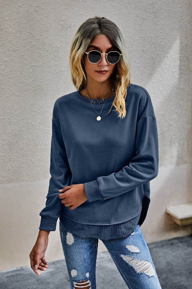 Navy Crew Neck Scalloped Edge Sweatshirt