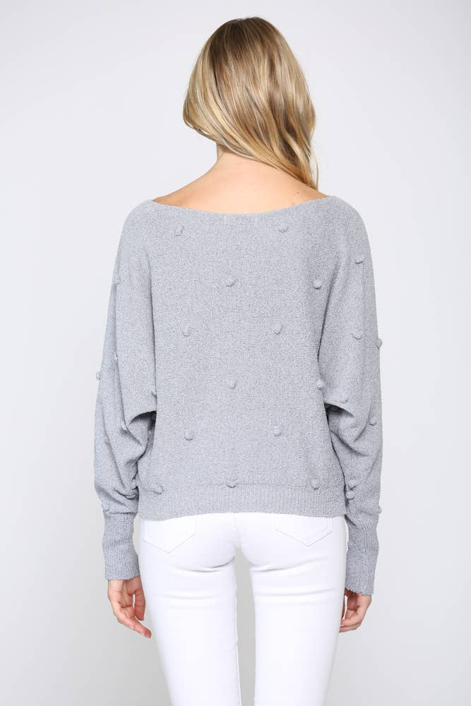 Pearl Blue Lightweight Pom Pom Sweater