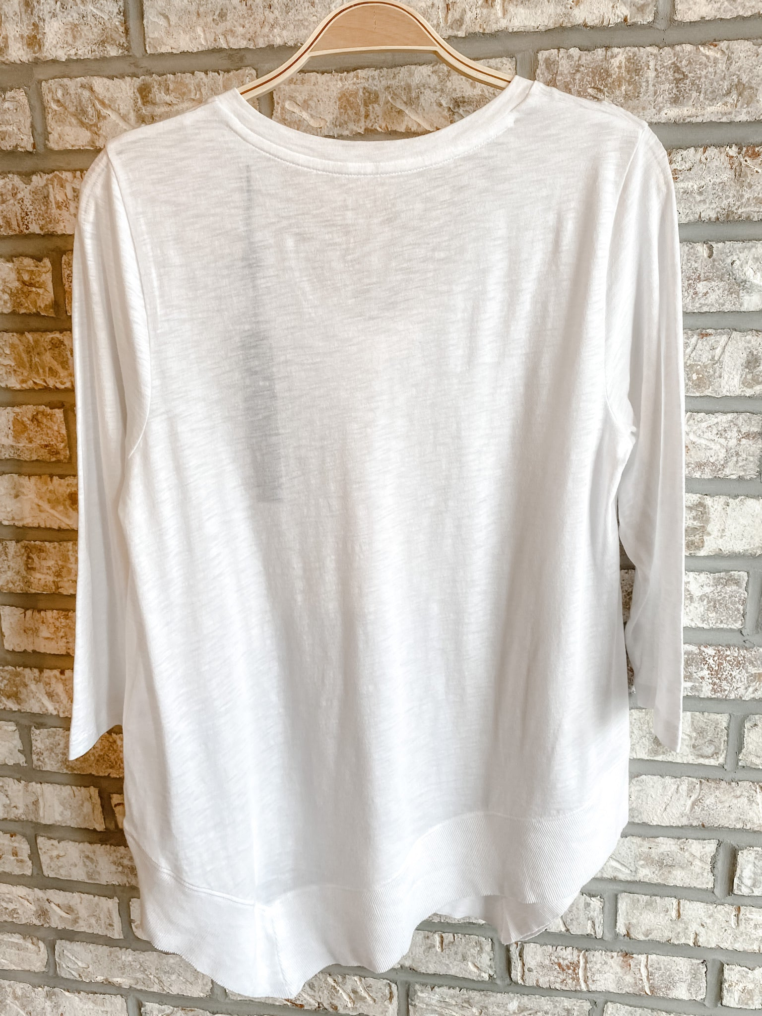 White Asymmetrical Long Sleeve Tee