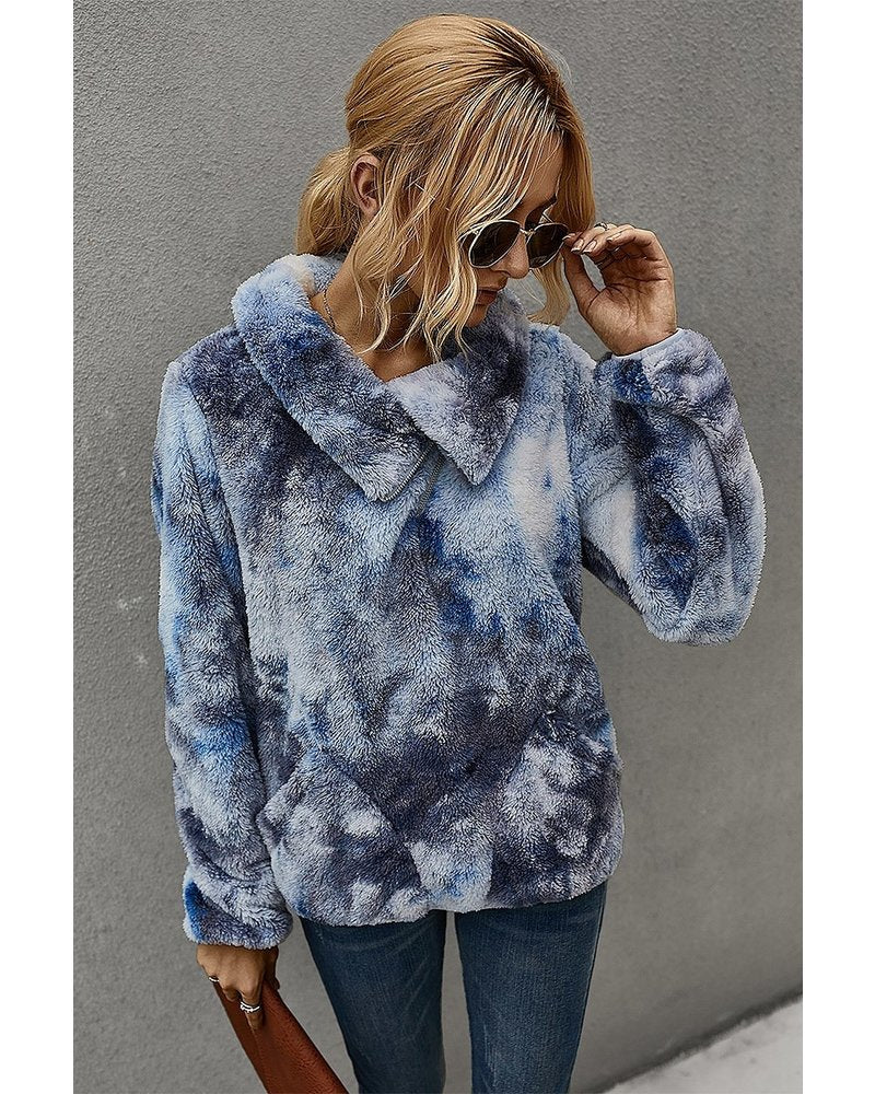 Navy Faux Fur Pullover