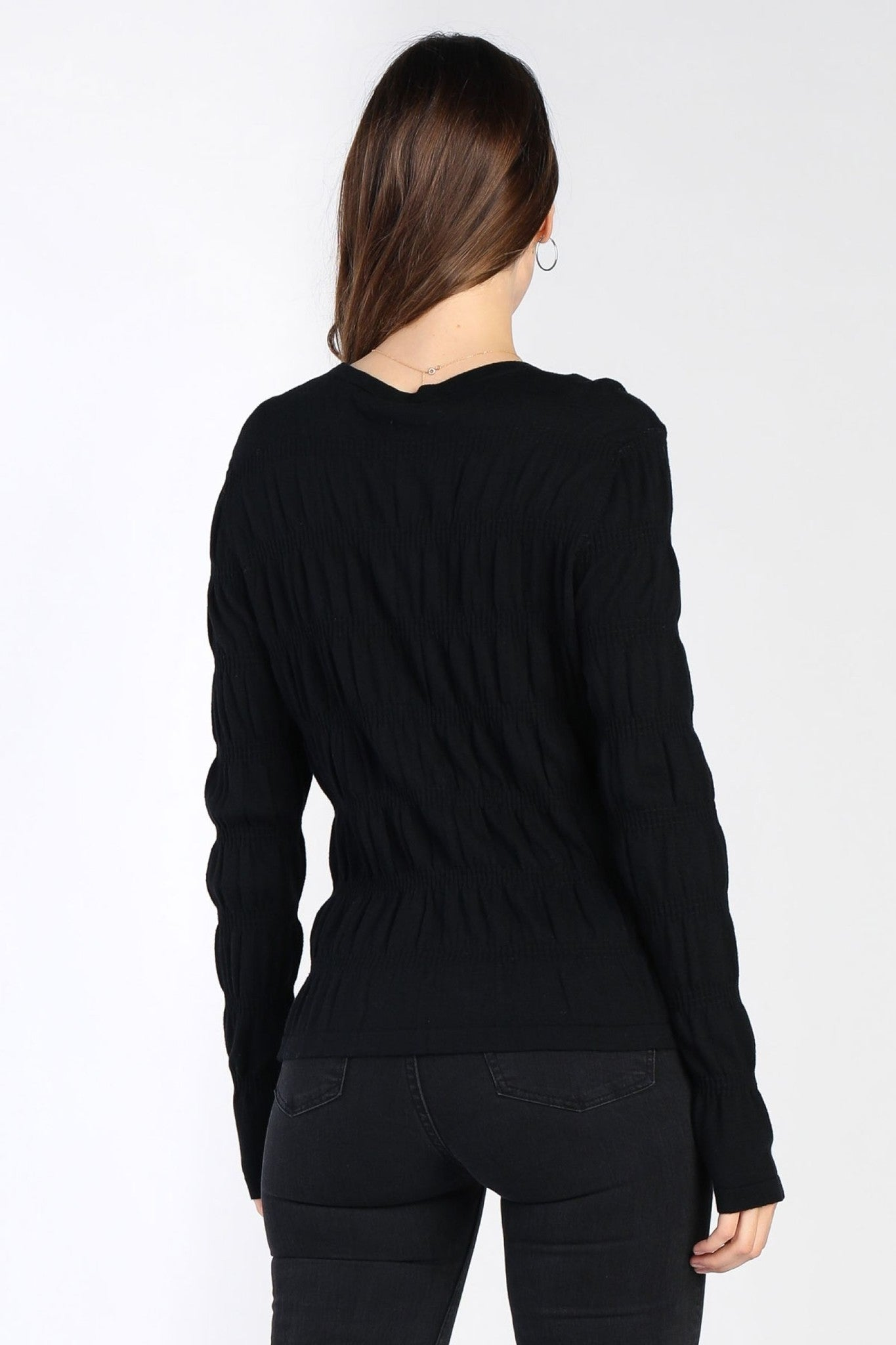 Black Sabrina Knit Rouched Sweater
