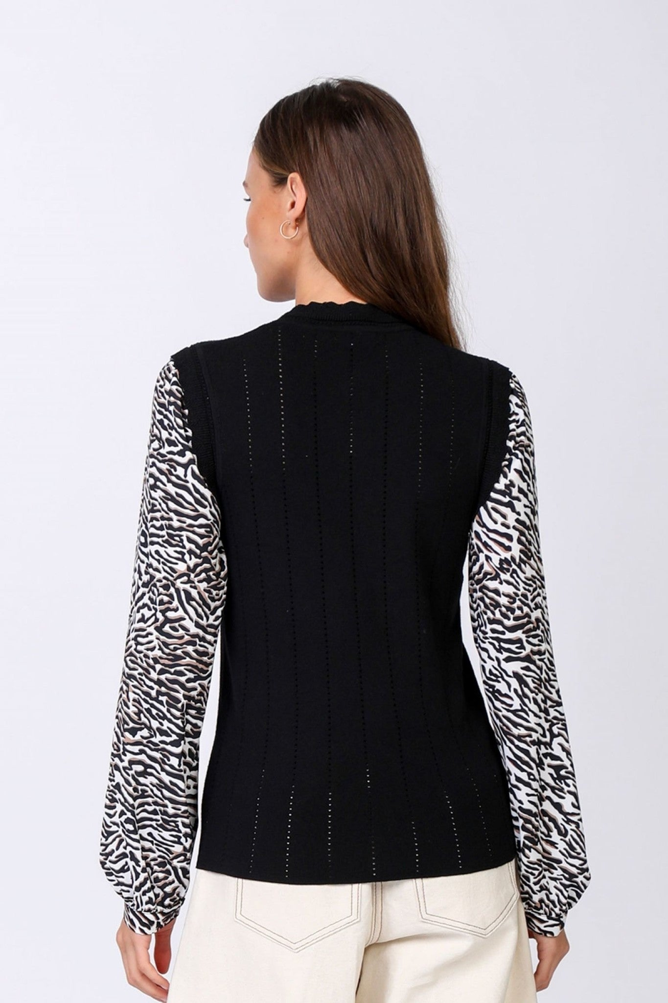 Black Sweater W/Zebra Contrast Sleeves (FINAL SALE)