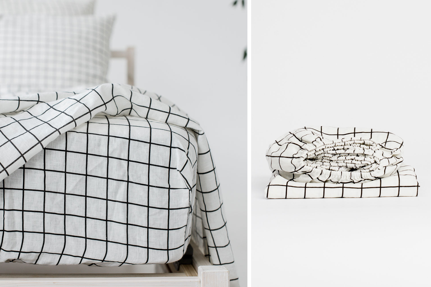 Linen fitted sheet grid