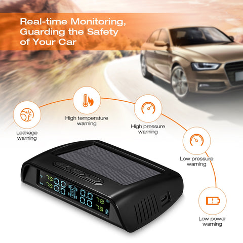 Car Tire Pressure Monitoring System Solar TPMS, LCD Screen with 4 External Sensors, C200 - Auto Extra Parts