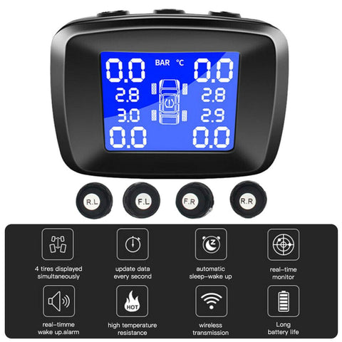 Car TPMS Wireless Tire Pressure +4 External Sensors Monitoring System O-Put USB - Auto Extra Parts