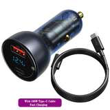 Car Charger USB Type-C Digital Display QC 4.0 Fast Charge Adapter Universal 65W - Auto Extra Parts