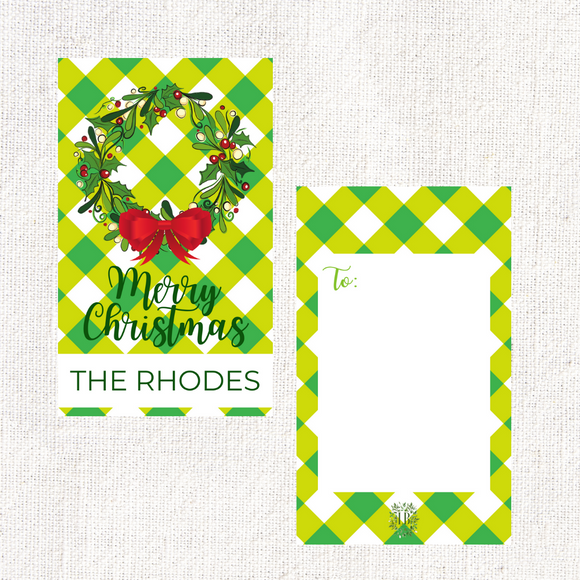 Berry Merry Christmas Wreath Green Gingham Gift Tag