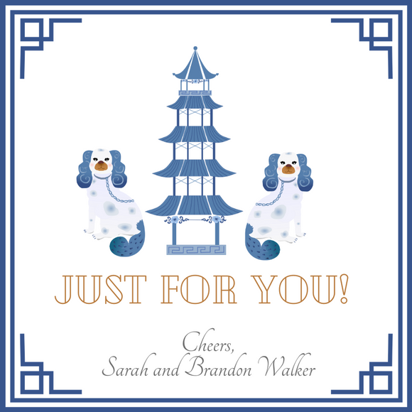 CHINOISERIE GIFT TAGS | Blue and White Pagodas Forever