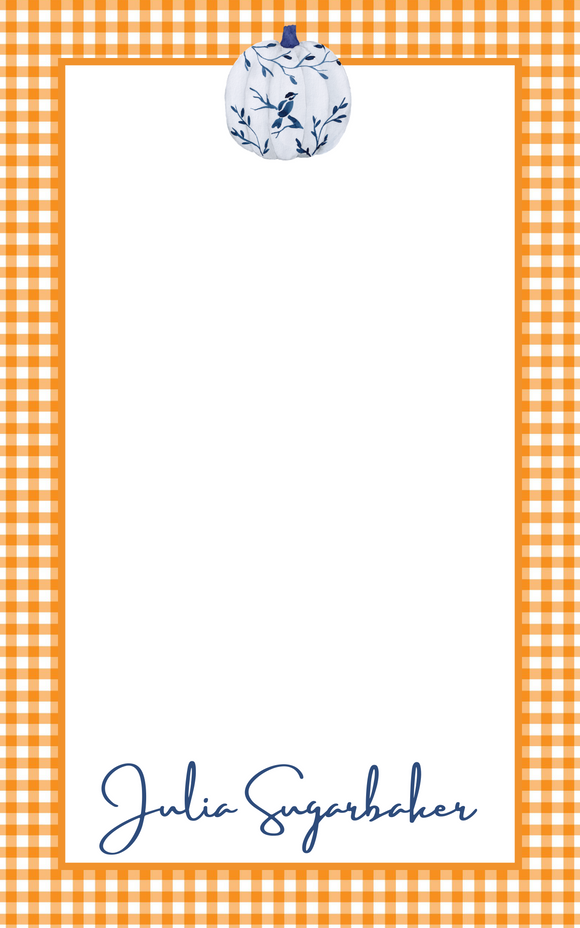 Personalized Fall Chinoiserie Pumpkin Notepads | Orange Gingham