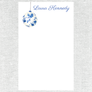 Blue and White Christmas Notepad | White