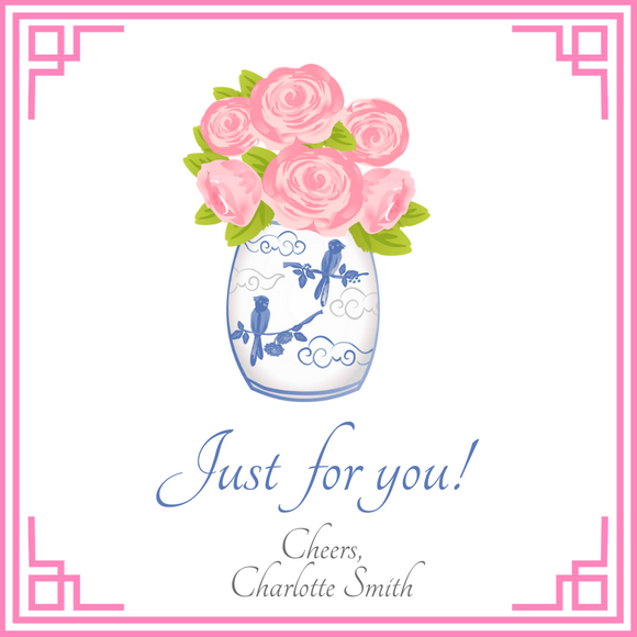 CHINOISERIE GIFT TAGS | Pink Peonies
