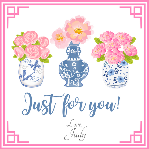 CHINOISERIE GIFT TAGS | Pink and Blue Ginger Jar Trio