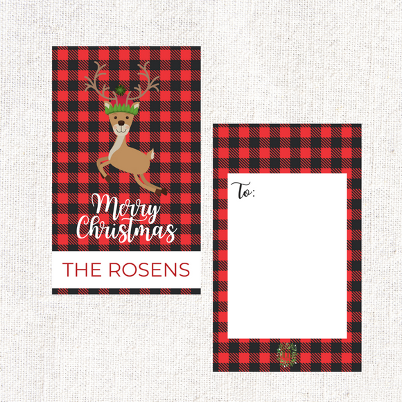 Reindeer Plaid Gift Tag